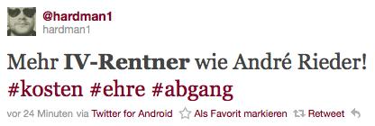 der Twittertext lautet: Mehr IV-Rentner wie André Rieder!